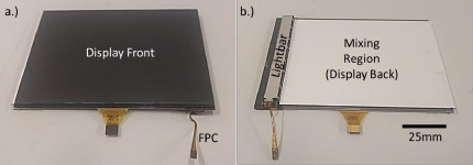 Front and back views of an LED light guide from FLEx Lighting