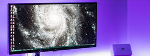 Large LCD display with space background
